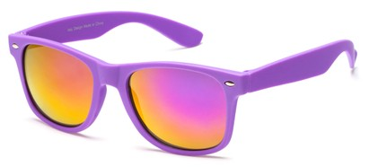 Angle of SW Retro Style #925 in Purple Frame with Mirrored Lenses, Women's and Men's
