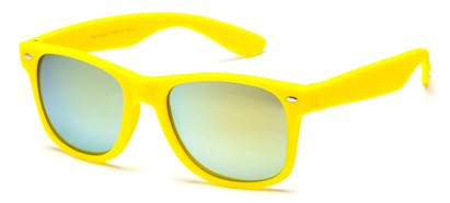 Angle of SW Retro Style #925 in Yellow Frame with Mirrored Lenses, Women's and Men's