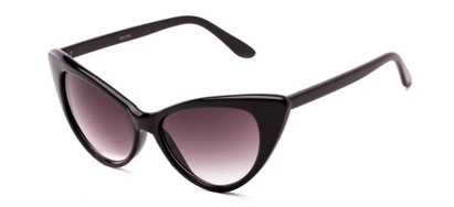 Angle of Victoria #1272 in Black Frame with Smoke Lenses, Women's Cat Eye Sunglasses