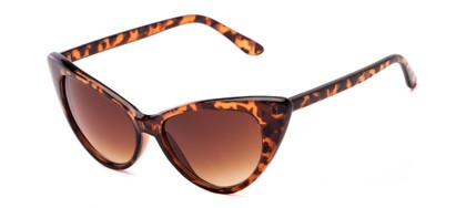 Angle of Victoria #1272 in Brown Tortoise Frame with Amber Lenses, Women's Cat Eye Sunglasses