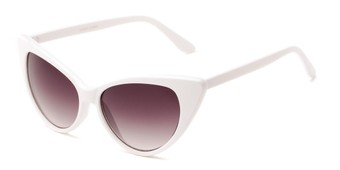 Angle of Victoria #1272 in White Frame with Smoke Lenses, Women's Cat Eye Sunglasses