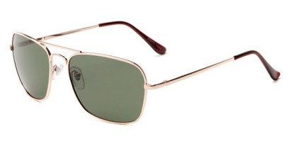 Angle of Voyager #790 in Gold Frame with Green Lenses, Women's and Men's Aviator Sunglasses