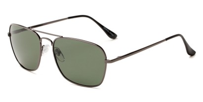Angle of Voyager #790 in Grey Frame with Green Lenses, Women's and Men's Aviator Sunglasses