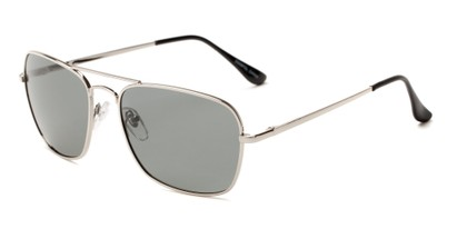 Angle of Voyager #790 in Silver Frame with Grey Lenses, Women's and Men's Aviator Sunglasses