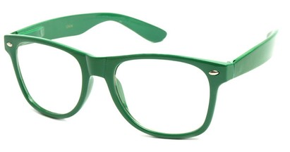 Angle of SW Clear Retro Style #5011 in Green Frame, Women's and Men's