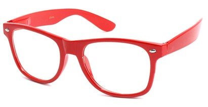 Angle of SW Clear Retro Style #5011 in Red Frame, Women's and Men's