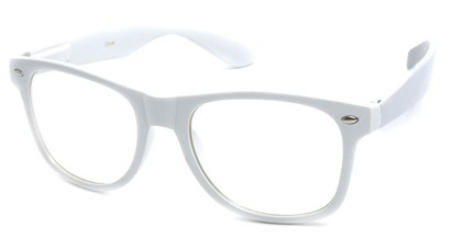 Angle of SW Clear Retro Style #5011 in White Frame, Women's and Men's