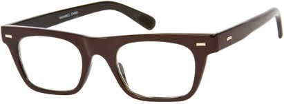 Angle of SW Clear Retro Style #2238 in Brown Frame, Women's and Men's