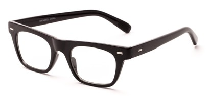 Angle of Baritone #3489 in Black Frame with Clear Lenses, Women's and Men's Retro Square Fake Glasses