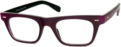 Angle of SW Clear Retro Style #2238 in Raspberry Purple Frame, Women's and Men's