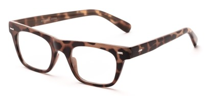 Angle of Baritone #3489 in Tan Tortoise Frame with Clear Lenses, Women's and Men's Retro Square Fake Glasses