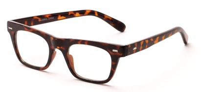Angle of Baritone #3489 in Brown Tortoise Frame with Clear Lenses, Women's and Men's Retro Square Fake Glasses