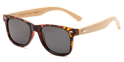 Angle of Mohawk #1462 in Brown Tortoise Frame with Grey Lenses, Women's and Men's Retro Square Sunglasses