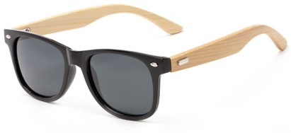 Angle of Mohawk #1462 in Black Frame with Grey Lenses, Women's and Men's Retro Square Sunglasses