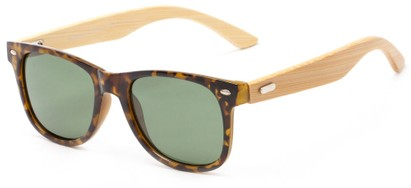 Angle of Mohawk #1462 in Yellow Tortoise Frame with Green Lenses, Women's and Men's Retro Square Sunglasses