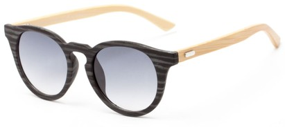 Angle of Cedar #3872 in Black/Grey Bamboo Frame with Smoke Lenses, Women's and Men's Round Sunglasses