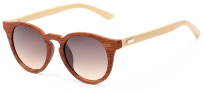 Angle of Cedar #3872 in Brown Bamboo Frame with Amber Lenses, Women's and Men's Round Sunglasses