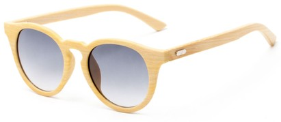 Angle of Cedar #3872 in Blonde Bamboo Frame with Smoke Lenses, Women's and Men's Round Sunglasses