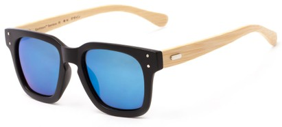Angle of Sumter #3873 in Matte Black Frame with Blue Mirrored Lenses, Men's Retro Square Sunglasses