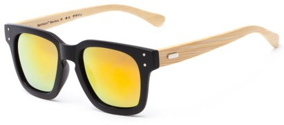 Angle of Sumter #3873 in Matte Black Frame with Orange/Yellow Mirrored Lenses, Men's Retro Square Sunglasses