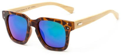 Angle of Sumter #3873 in Glossy Tortoise Frame with Green/Blue Mirrored Lenses, Men's Retro Square Sunglasses