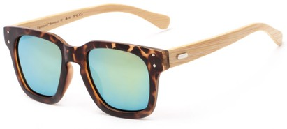 Angle of Sumter #3873 in Matte Tortoise Frame with Yellow/Blue Mirrored Lenses, Men's Retro Square Sunglasses