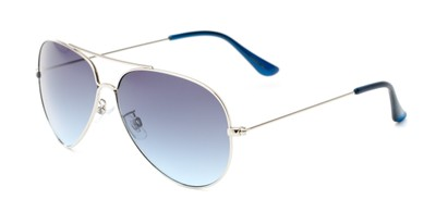 Angle of Watershed #9622 in Silver/Dark Blue Frame with Blue Lenses, Women's and Men's Aviator Sunglasses