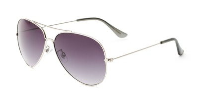 Angle of Watershed #9622 in Silver/Black Frame with Grey Lenses, Women's and Men's Aviator Sunglasses