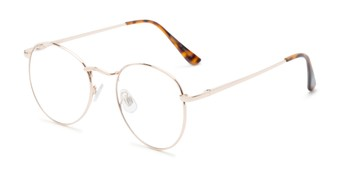 Angle of Webster #26689 in Gold Frame with Clear Lenses, Women's and Men's Round Fake Glasses