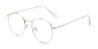 Angle of Webster #26689 in Silver Frame with Clear Lenses, Women's and Men's Round Fake Glasses