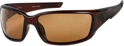 Angle of SW Polarized Style #1860 in Glossy Brown Frame with Amber Lenses, Women's and Men's
