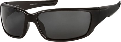 Angle of SW Polarized Style #1860 in Glossy Black Frame with Smoke Lenses, Women's and Men's