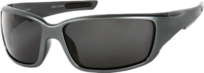 Angle of SW Polarized Style #1860 in Glossy Grey Frame with Smoke Lenses, Women's and Men's