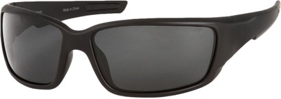 Angle of SW Polarized Style #1860 in Matte Black Frame with Smoke Lenses, Women's and Men's