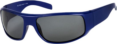 Angle of SW Polarized Style #1865 in Glossy Blue Frame with Smoke Lenses, Women's and Men's