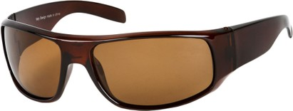 Angle of SW Polarized Style #1865 in Glossy Brown Frame with Amber Lenses, Women's and Men's