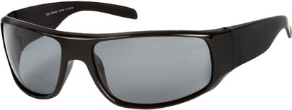 Angle of SW Polarized Style #1865 in Glossy Black Frame with Smoke Lenses, Women's and Men's