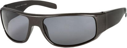 Angle of SW Polarized Style #1865 in Glossy Grey Frame with Smoke Lenses, Women's and Men's