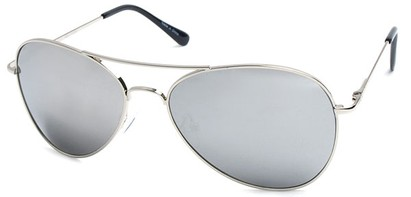 Angle of SW Aviator Style #2456 in Silver Frame with Mirror Lenses, Women's and Men's
