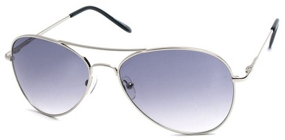 Angle of SW Aviator Style #2456 in Silver Frame with Smoke Lenses, Women's and Men's