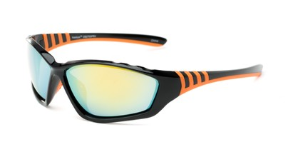Angle of Yellowstone #1742 in Black/Orange Frame with Mirrored Lenses, Men's Sport & Wrap-Around Sunglasses