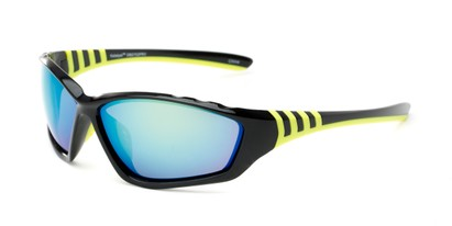 Angle of Yellowstone #1742 in Black/Yellow Frame with Mirrored Lenses, Men's Sport & Wrap-Around Sunglasses