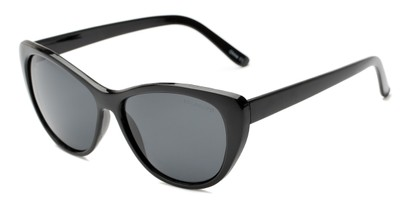 Angle of Yuma #1066 in Black Frame with Smoke Lenses, Women's Cat Eye Sunglasses