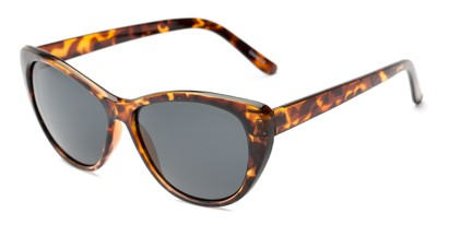 Angle of Yuma #1066 in Tortoise Frame with Smoke Lenses, Women's Cat Eye Sunglasses