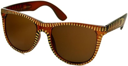 Angle of SW Retro Zipper Style #273 in Brown and Gold Frame, Women's and Men's
