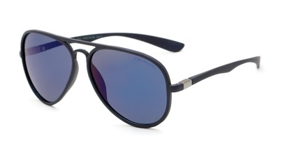 Angle of Gaines #9815 in Black Frame with Blue Mirrored Lenses, Women's and Men's Aviator Sunglasses