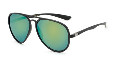 Angle of Gaines #9815 in Black Frame with Yellow/Blue Mirrored Lenses, Women's and Men's Aviator Sunglasses