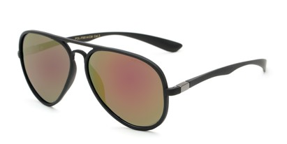 Angle of Gaines #9815 in Black Frame with Red/Green Mirrored Lenses, Women's and Men's Aviator Sunglasses