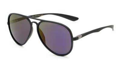 Angle of Gaines #9815 in Black Frame with Purple/Yellow Mirrored Lenses, Women's and Men's Aviator Sunglasses