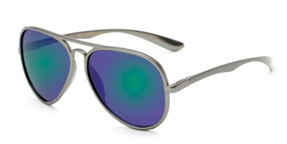 Angle of Gaines #9815 in Grey Frame with Green/Purple Mirrored Lenses, Women's and Men's Aviator Sunglasses